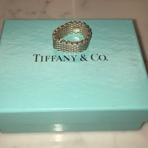 Tiffany Somerset Mesh Ring w Original Box